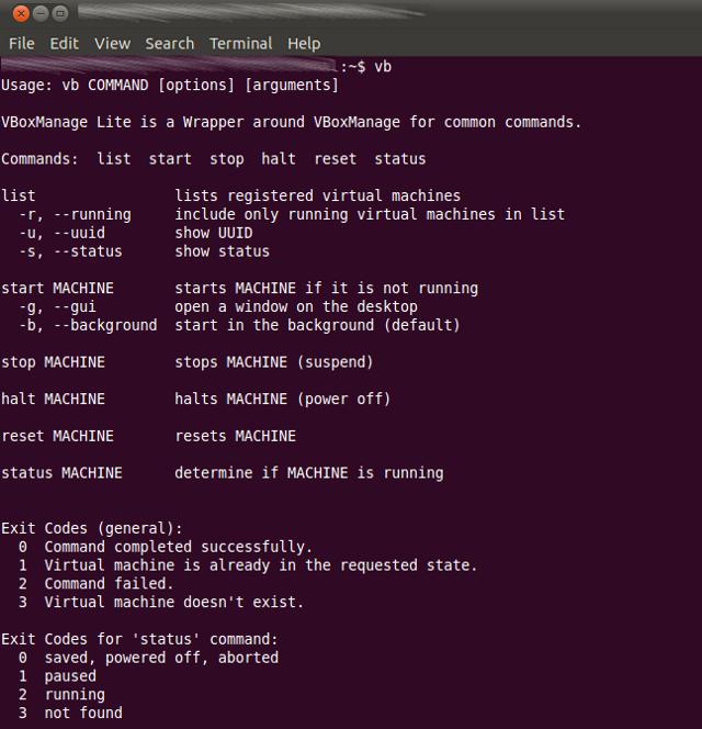 Screenshot VBoxManage Lite